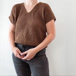 VINTAGE   Brown Knit Short Sleeve Sweater Top Sz M